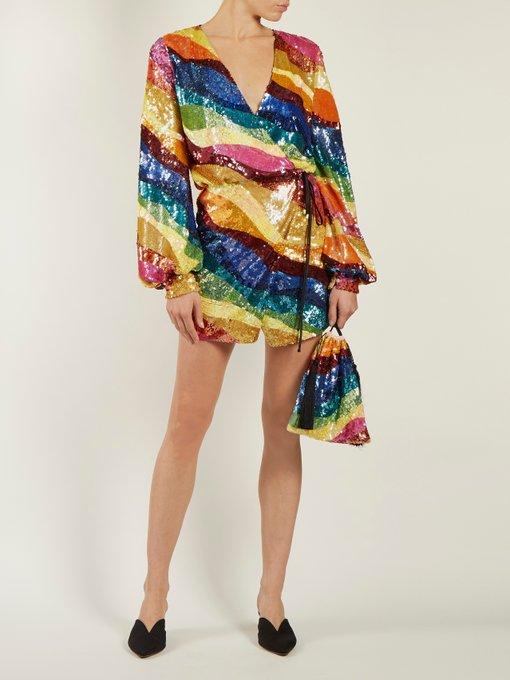 Rainbow Striped Sequin Dress Attico Matchesfashion Com Uk