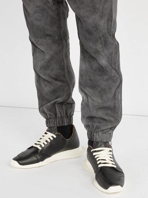 Oblique leather trainers   Rick Owens