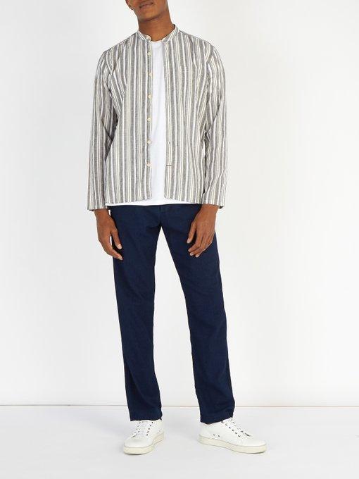 OLIVER SPENCER Tops Striped grandad-collar cotton-blend shirt