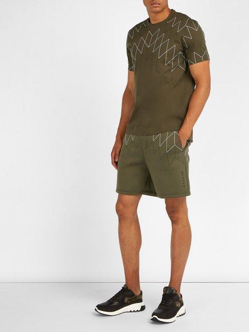 BLACKBARRETT Linings Mid-rise Line-print jersey shorts