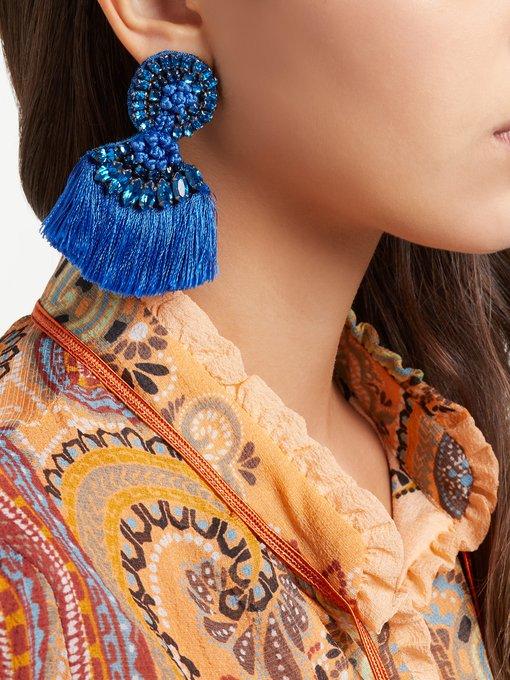Etro Crystal-embellished fringed clip-on earrings Glzdwu