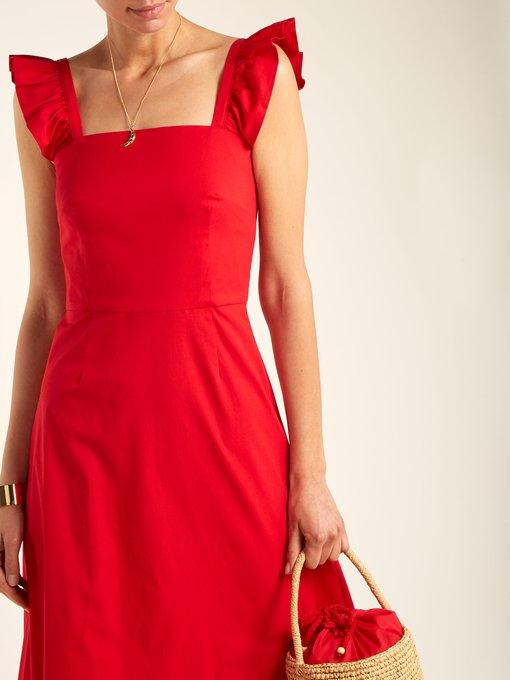 Valentina cotton-poplin asymmetric dress Staud ixp3sz
