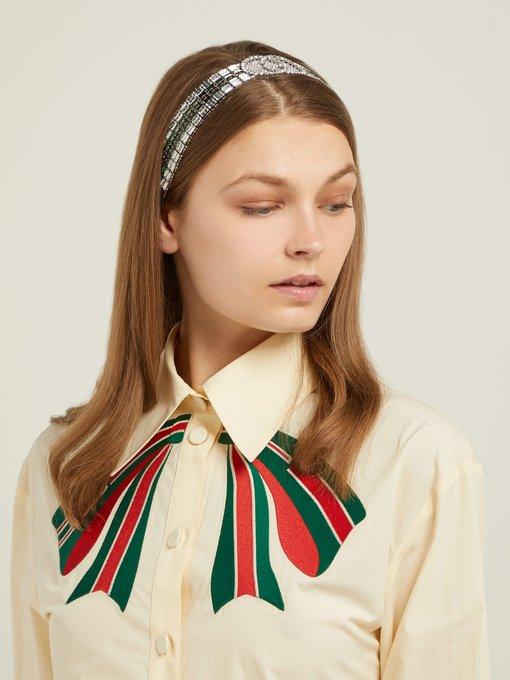 8d6f7a53bdb Gucci Tennis crystal-embellished headband. outfit 1215095
