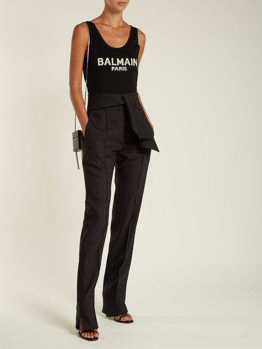 Black Logo-Intarsia Jersey Bodysuit