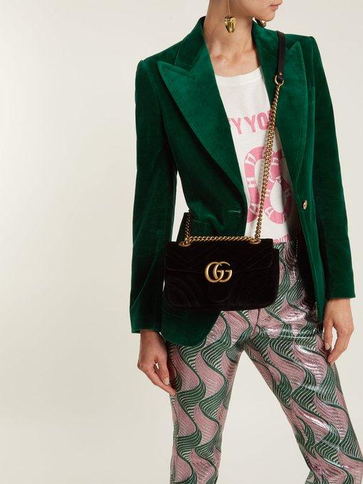 5ebd60846c7d74 GG Marmont mini velvet quilted shoulder bag | Gucci | MATCHESFASHION ...