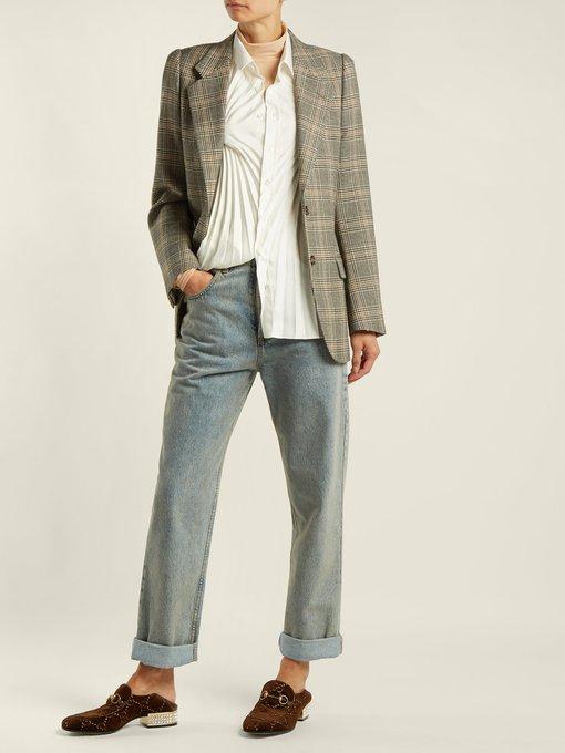 c839d02ef3a Gucci Mister GG crystal-embellished velvet loafers. outfit 1216059