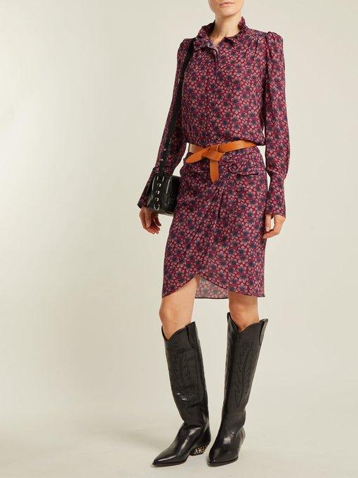 7c451390e5172 Isabel Marant Lamia leaf-print silk blouse. outfit 1216181