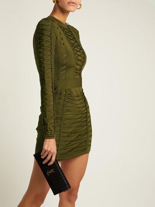7bd18a44b49d Balmain Lace-up stretch-knit mini dress. outfit 1220357