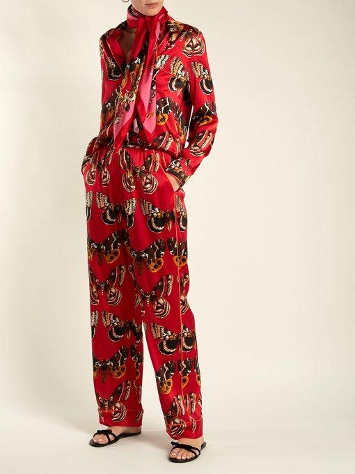 Butterfly-print silk-twill scarf Dolce & Gabbana 0IaTB