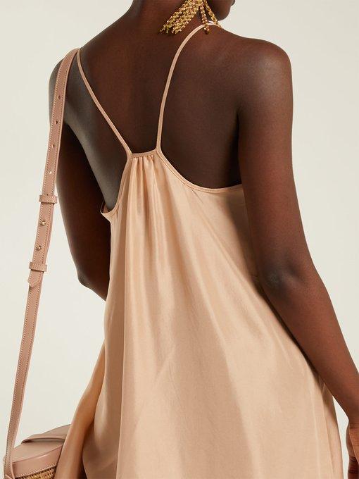 LOUP CHARMANT Silks LOUP CHARMANT - CLASSIC SCOOP NECK SILK SATIN SLIP DRESS - WOMENS - NUDE