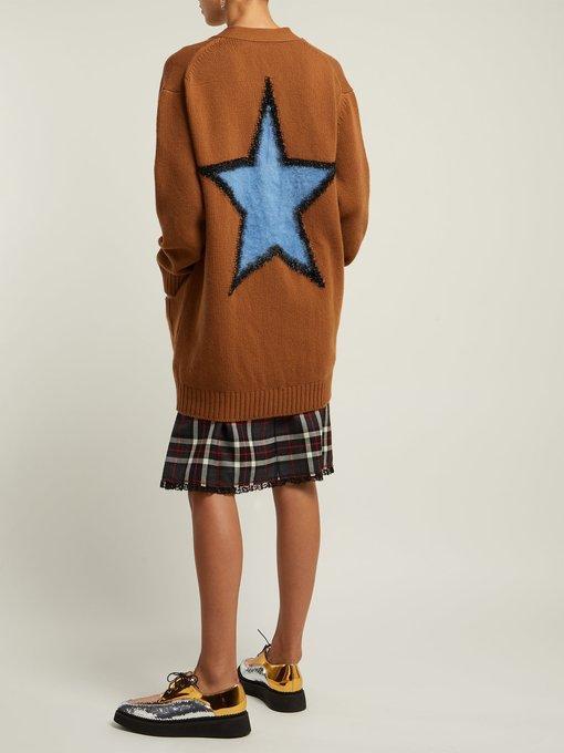 No. 21 Star Intarsia Wool Cardigan