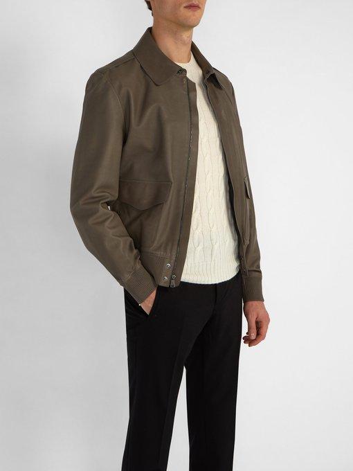 fa046f00b6e46 Ralph Lauren Purple Label Veste aviateur en cuir Henfield. outfit 1224220