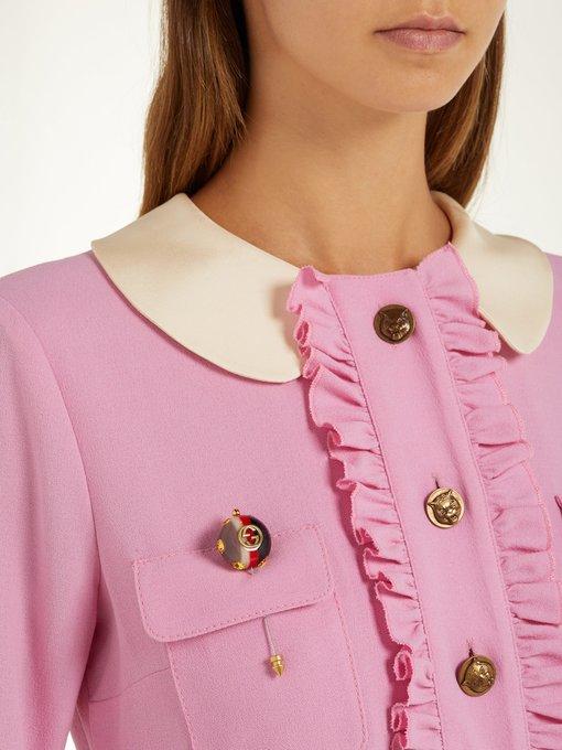 0a10c80e9 GG Web stripe and crystal brooch   Gucci   MATCHESFASHION.COM KR