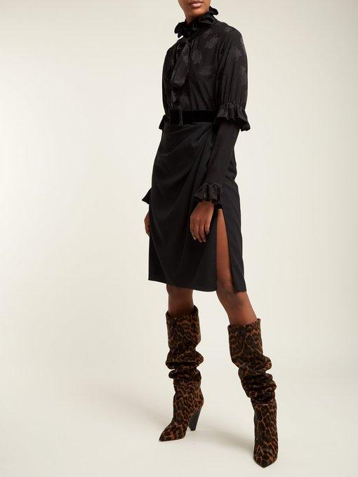 c6d67cb6c4ac9 Saint Laurent Niki leopard-print knee-high calf-hair boots. outfit 1233663