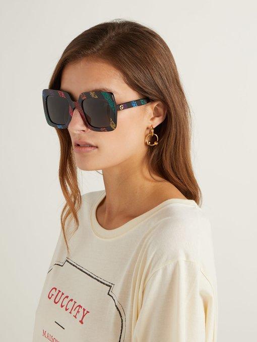 dee2a2343fe Gucci Square-frame glitter acetate sunglasses. outfit 1236128