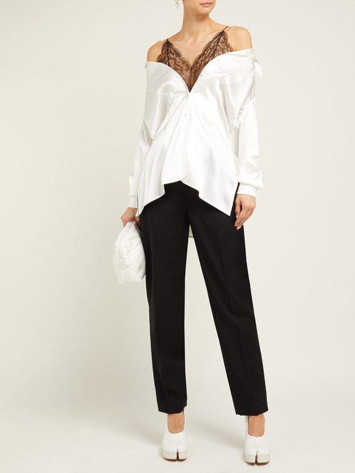 5302d7d88bdf4 Maison Margiela Off-the-shoulder silk and lace blouse. outfit 1252329