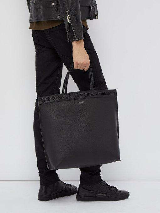 9fc94aa6d865e Saint Laurent Patti woven trim leather tote bag. outfit 1256914