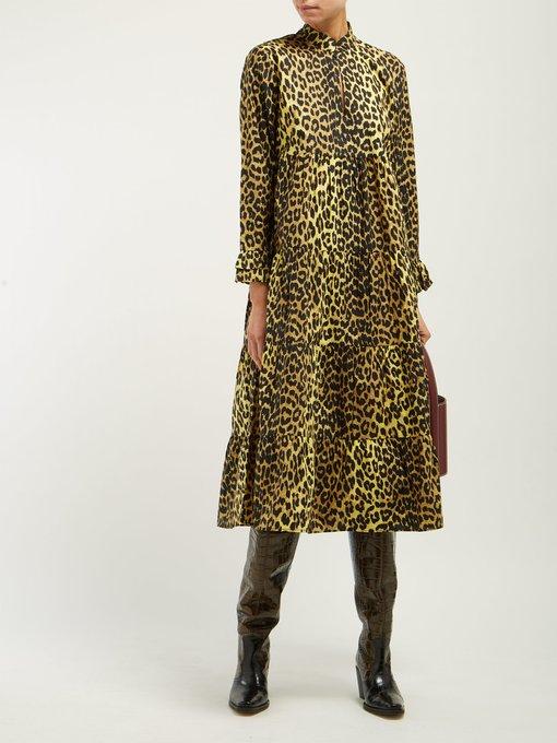 dfae4846 Bijou leopard-print cotton midi dress | Ganni | MATCHESFASHION.COM AU