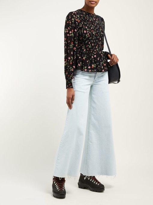 5e230b20 Elm shirred floral-print georgette blouse | Ganni | MATCHESFASHION ...