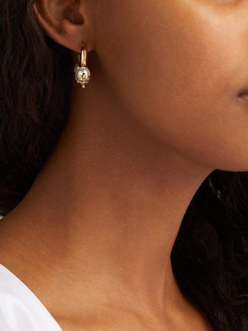 Brown Tri-Pearl Loop Earrings