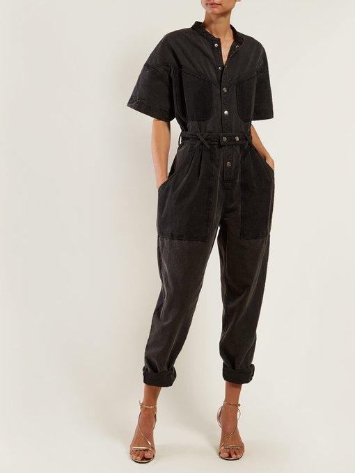 6df87b44b37e Isabel Marant Tundra contrast-pocket denim jumpsuit. outfit 1268440