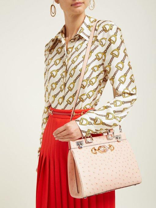 4fbe99dde Zumi medium ostrich shoulder bag | Gucci | MATCHESFASHION.COM UK