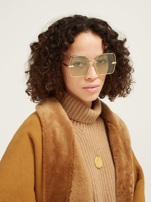 9007b987e2 Karen Walker Eyewear Nirvana Gold oversized sunglasses. outfit_1274135