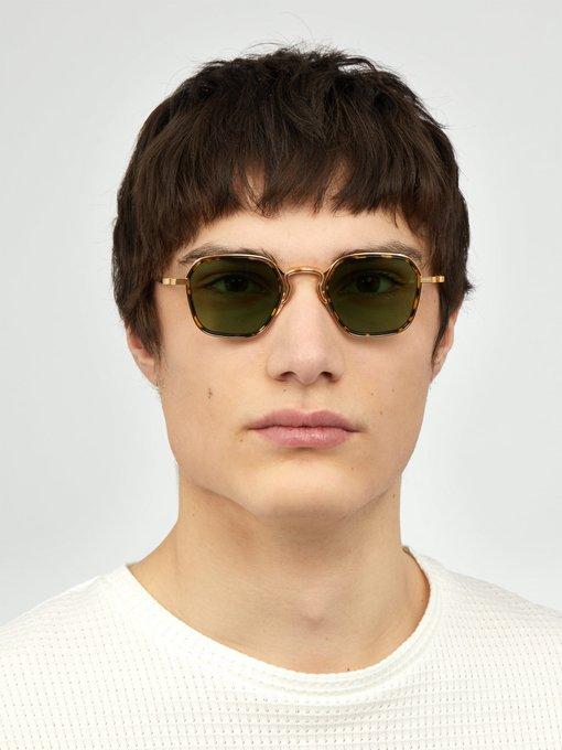 77611303325 Jacques Marie Mage Wyatt Wellington-frame titanium sunglasses.  outfit 1274176