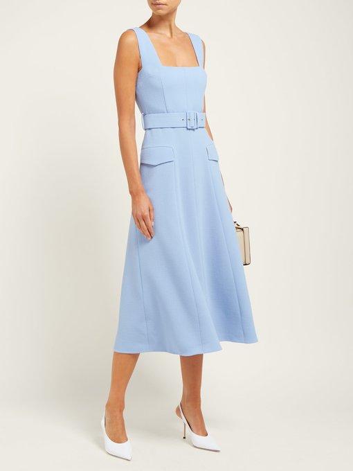 Emilia Wickstead – Petra Panelled Wool Crepe Dress – Womens – Light Blue
