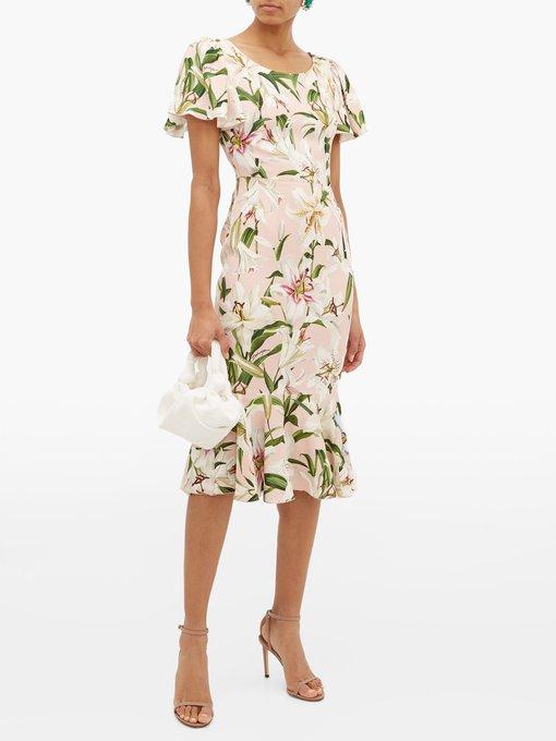 751071a0 Lily-print fluted cady dress | Dolce & Gabbana | MATCHESFASHION.COM AU