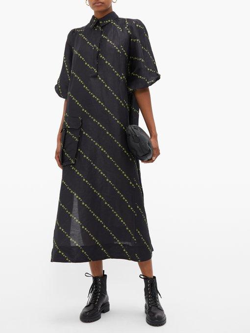 f9b463e38a203f Add to wishlist Go to WishList. Ganni Mini floral-print side-slit linen-blend  dress