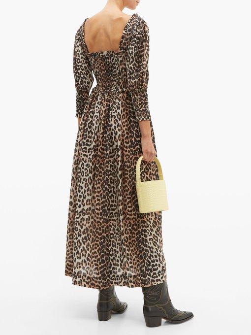 de3b144ac255 Ganni Shirred leopard-print cotton-blend maxi dress. outfit_1280637