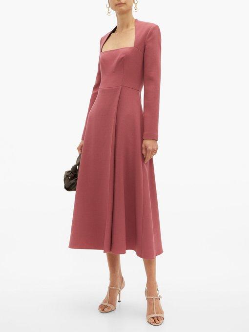 Emilia Wickstead – Dark Pink Glenda Square Neckline Wool Crepe Midi Dress – Womens – Dark Pink