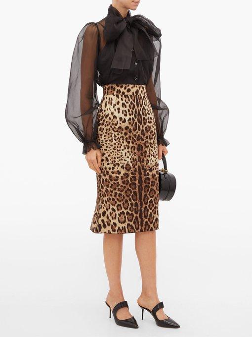 Jupe crayon en charmeuse à imprimé léopard | Dolce & Gabbana