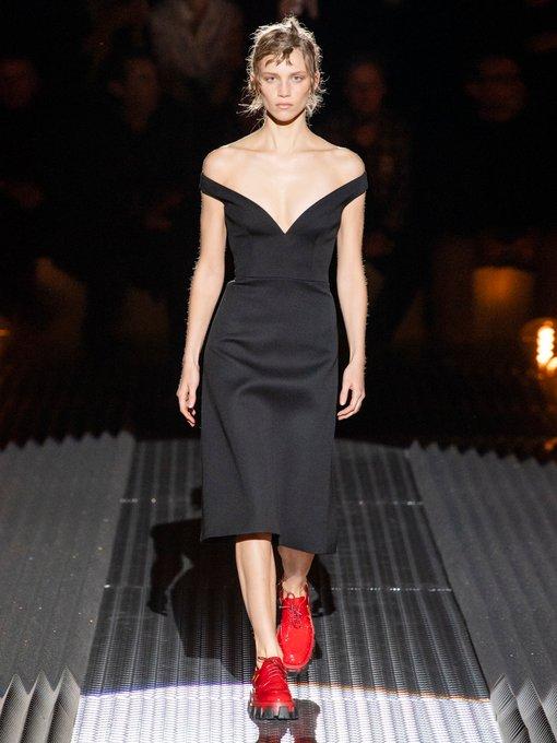 12349dfa7d9 Off-the-shoulder wool-twill dress | Prada | MATCHESFASHION.COM UK