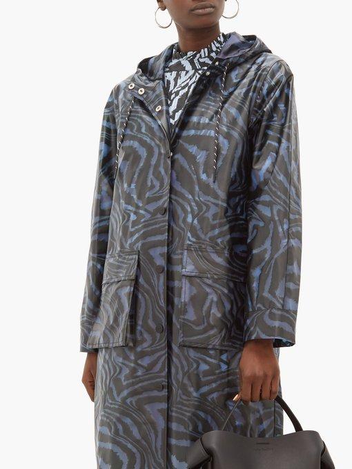 Tiger Print Bio Plastic Rain Coat, Plastic Trench Coat