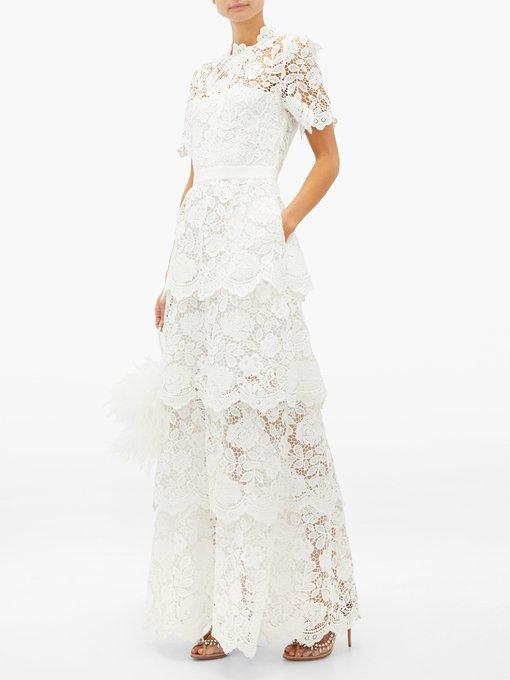 Tiered Skirt Floral Lace Dress Self Portrait Matchesfashion Uk