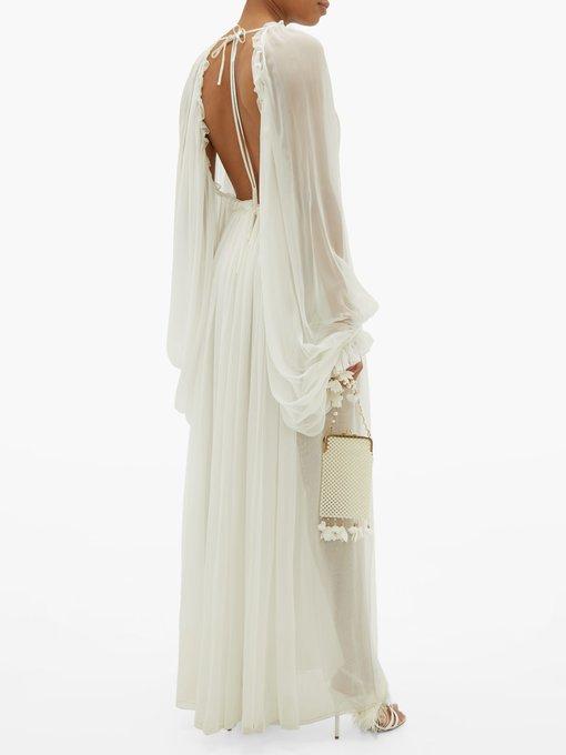 Draped sleeve empire waist silk chiffon gown   Maison Rabih