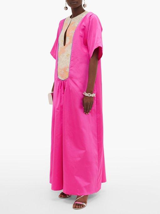 Vintage obi plastron silk maxi dress   Rianna + Nina