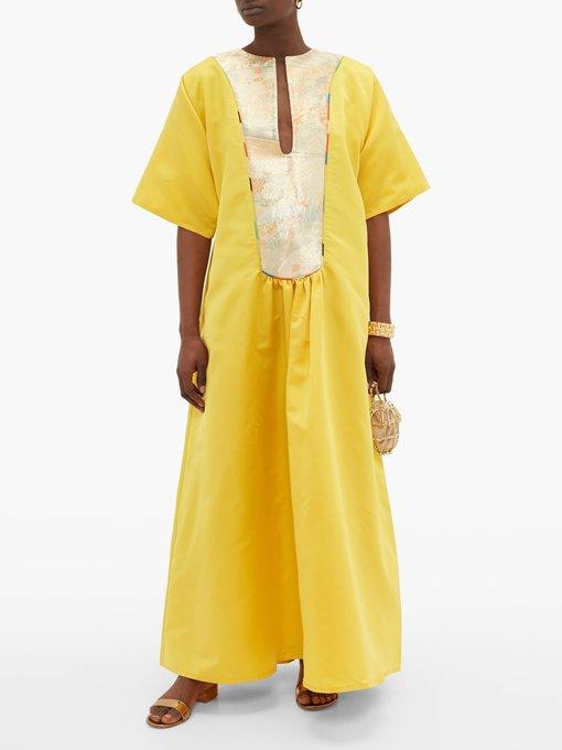 Vintage brocade yoke silk satin dress   Rianna + Nina