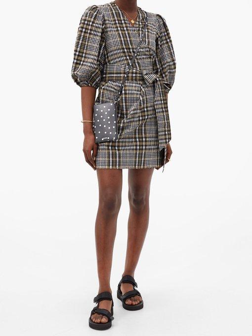 Puff Sleeved Checked Seersucker Wrap Dress Ganni Matchesfashion Uk