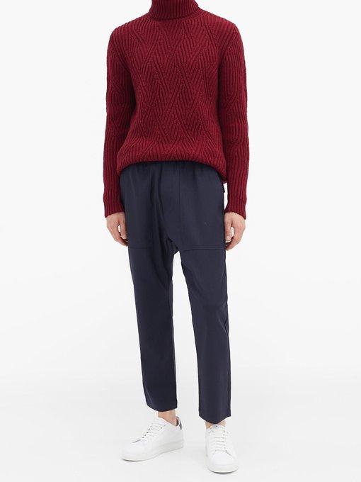 Pull col roulé en laine à maille côtelée zigzag | Etro