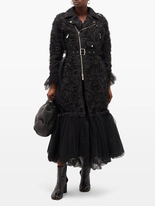 Manteau en tulle à fleurs et ourlet à basque | Noir Kei