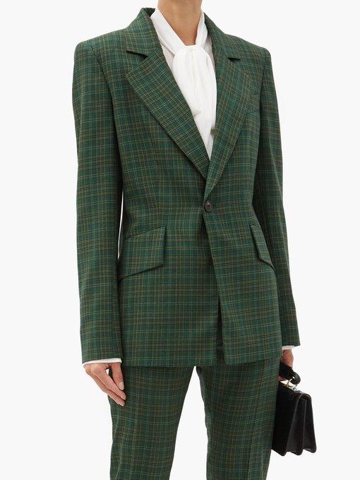 Tartan-check wool-twill suit jacket