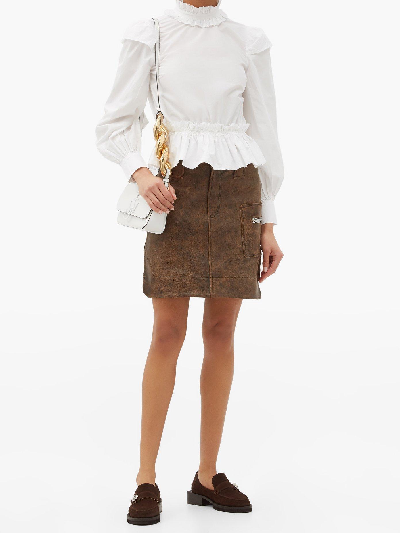 GANNI Ruffle-collar peplum-hem organic-cotton blouse