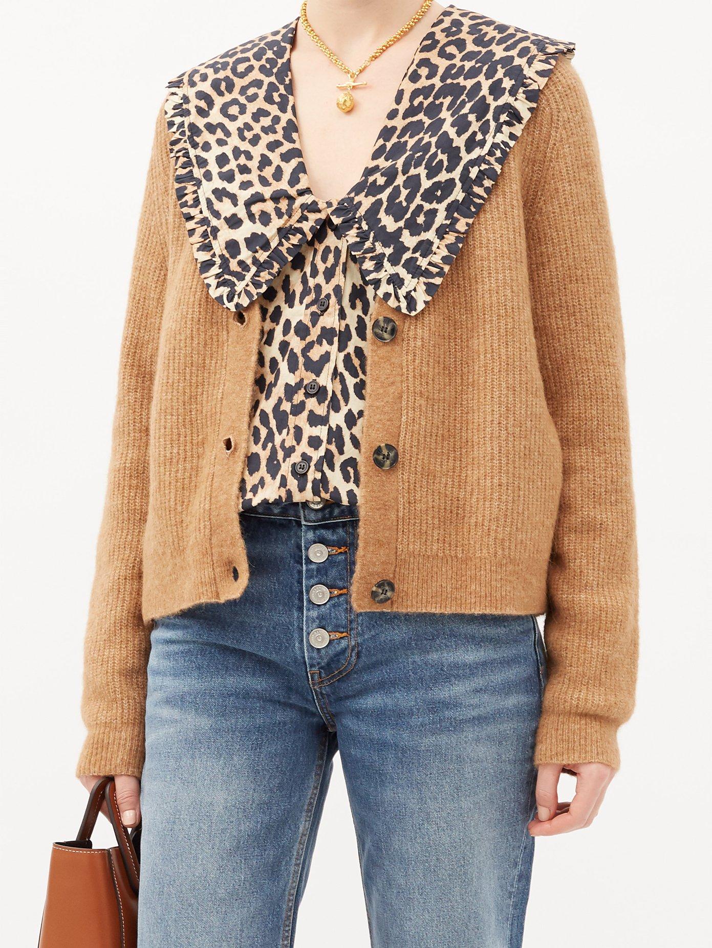 Ganni Ruffled-collar leopard-print cotton-poplin blouse